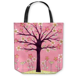 Unique Shoulder Bag Tote Bags | Sascalia Pink Bird Tree