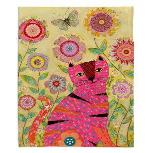 Decorative Fleece Throw Blankets | Sascalia - Pink Cat Butterfly
