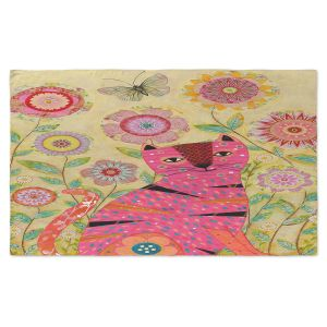 Artistic Pashmina Scarf | Sascalia - Pink Cat Butterfly | Bugs Flowers Animals