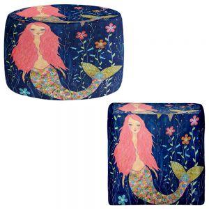 Round and Square Ottoman Foot Stools | Sascalia - Pink Mermaid