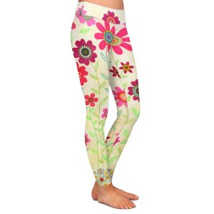 Casual Comfortable Leggings | Sascalia Pink Retro Flowers