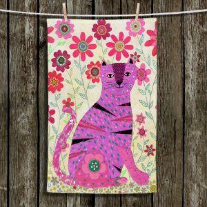 Unique Hanging Tea Towels | Sascalia - Retro Flowers Purple Cat | Cats Flowers Animals