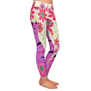 Casual Comfortable Leggings | Sascalia - Retro Flowers Purple Cat