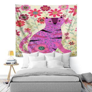 Artistic Wall Tapestry   Sascalia - Retro Flowers Purple Cat