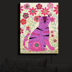 Nightlight Sconce Canvas Light | Sascalia - Retro Flowers Purple Cat | Animals Child Like Flowers