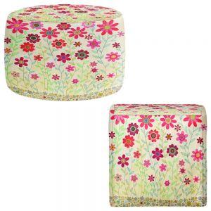 Round and Square Ottoman Foot Stools | Sascalia - Pink Retro Flowers