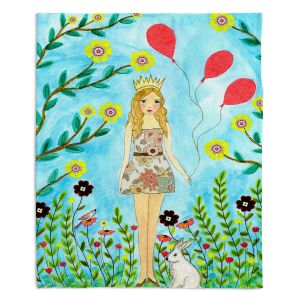 Artistic Sherpa Pile Blankets | Sascalia - Princess | Little Girl Childlike Animals Princess Flowers