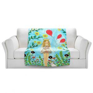 Artistic Sherpa Pile Blankets   Sascalia - Princess   Little Girl Childlike Animals Princess Flowers