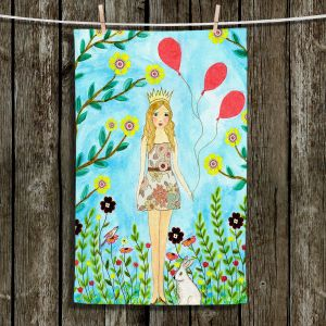 Unique Hanging Tea Towels | Sascalia - Princess | Little Girl Childlike Animals Princess Flowers
