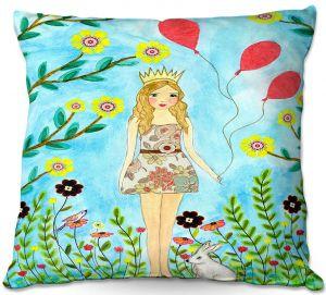 Decorative Outdoor Patio Pillow Cushion | Sascalia - Princess | Little Girl Childlike Animals Princess Flowers
