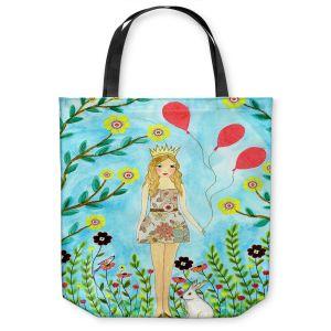 Unique Shoulder Bag Tote Bags | Sascalia - Princess | Little Girl Childlike Animals Princess Flowers