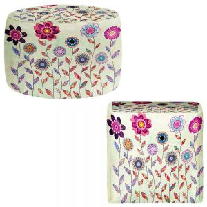 Round and Square Ottoman Foot Stools | Sascalia - Purple Flowers