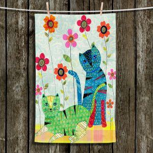 Unique Hanging Tea Towels | Sascalia - Retro Cats | Birds Flowers