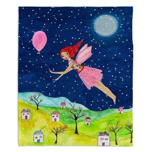 Decorative Fleece Throw Blankets | Sascalia - Snow Fairy | Fairy Childlike Fantasy Holiday Houses