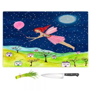 Artistic Kitchen Bar Cutting Boards | Sascalia - Snow Fairy | Fairy Childlike Fantasy Holiday Houses