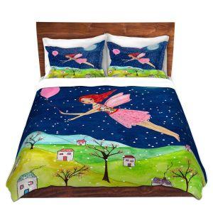 Artistic Duvet Covers and Shams Bedding | Sascalia - Snow Fairy | Fairy Childlike Fantasy Holiday Houses