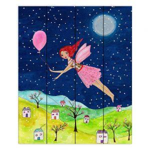 Decorative Wood Plank Wall Art | Sascalia - Snow Fairy | Fairy Childlike Fantasy Holiday Houses