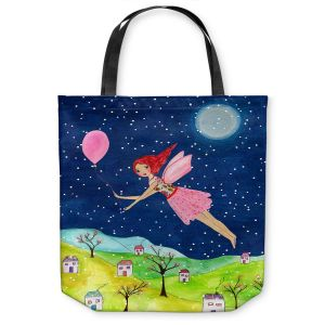 Unique Shoulder Bag Tote Bags | Sascalia - Snow Fairy | Fairy Childlike Fantasy Holiday Houses