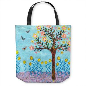 Unique Shoulder Bag Tote Bags | Sascalia - Spring Tree | Nature flower tree field