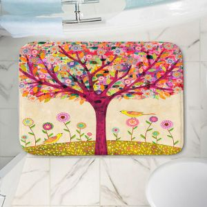 Decorative Bathroom Mats | Sascalia - Sunny Tree | Tree Birds Flowers Nature