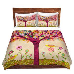 Artistic Duvet Covers and Shams Bedding   Sascalia - Sunny Tree   Tree Birds Flowers Nature
