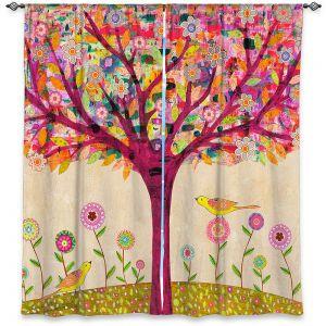 Decorative Window Treatments | Sascalia - Sunny Tree | Tree Birds Flowers Nature