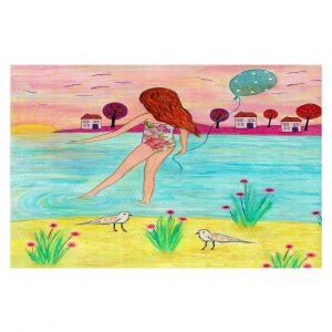 Decorative Floor Coverings | Sascalia - Sunset Bay | Childlike Beach Birds Houses