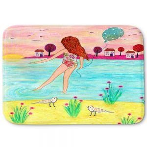 Decorative Bathroom Mats | Sascalia - Sunset Bay | Childlike Beach Birds Houses
