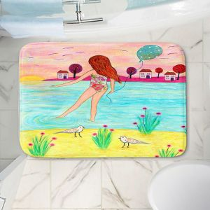 Decorative Bathroom Mats | Sascalia - Sunset Bay | Childlike Beach Birds Houses