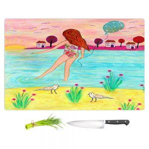 Artistic Kitchen Bar Cutting Boards   Sascalia - Sunset Bay   Childlike Beach Birds Houses