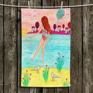 Unique Hanging Tea Towels | Sascalia - Sunset Bay | Childlike Beach Birds Houses