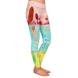 Casual Comfortable Leggings | Sascalia - Sunset Bay | Childlike Beach Birds Houses
