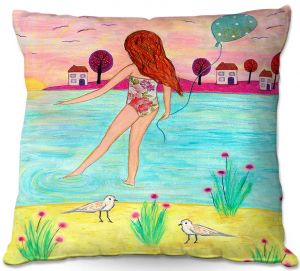 Decorative Outdoor Patio Pillow Cushion | Sascalia - Sunset Bay | Childlike Beach Birds Houses