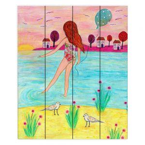 Decorative Wood Plank Wall Art | Sascalia - Sunset Bay | Childlike Beach Birds Houses