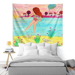 Artistic Wall Tapestry | Sascalia - Sunset Bay | Childlike Beach Birds Houses