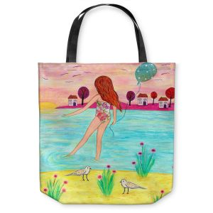 Unique Shoulder Bag Tote Bags | Sascalia - Sunset Bay | Childlike Beach Birds Houses
