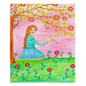 Decorative Fleece Throw Blankets | Sascalia - Tweet Tweet | Childlike Birds Nature Flowers