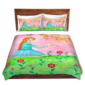 Artistic Duvet Covers and Shams Bedding | Sascalia - Tweet Tweet | Childlike Birds Nature Flowers