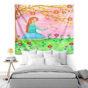Artistic Wall Tapestry | Sascalia - Tweet Tweet | Childlike Birds Nature Flowers