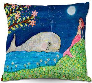 Decorative Outdoor Patio Pillow Cushion   Sascalia - Whale Mermaid