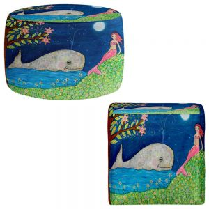 Round and Square Ottoman Foot Stools | Sascalia - Whale Mermaid