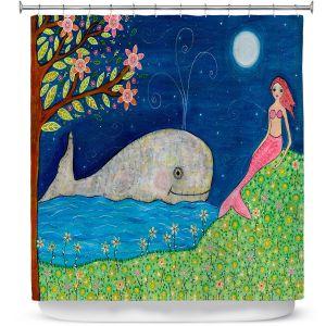 Premium Shower Curtains | Sascalia Whale Mermaid
