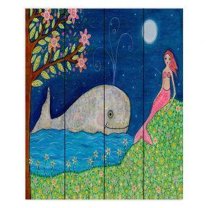 Decorative Wood Plank Wall Art | Sascalia Whale Mermaid