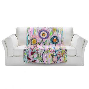 Artistic Sherpa Pile Blankets | Sascalia - Whisper | Florals Boho Chic