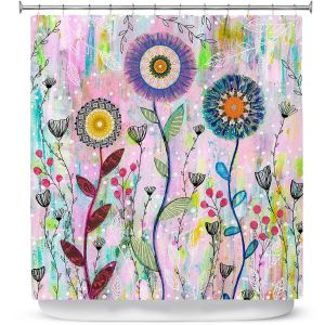 Premium Shower Curtains | Sascalia - Whisper | Florals Boho Chic