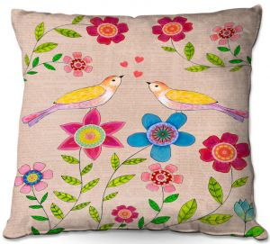 Throw Pillows Decorative Artistic | Sascalia - You Are My Sunshine | Nature bird flower