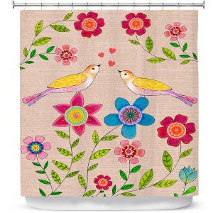 Premium Shower Curtains | Sascalia - You Are My Sunshine | Nature bird flower