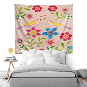 Artistic Wall Tapestry | Sascalia - You Are My Sunshine | Nature bird flower