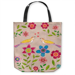 Unique Shoulder Bag Tote Bags | Sascalia - You Are My Sunshine | Nature bird flower