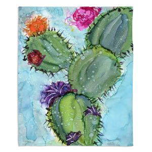 Decorative Fleece Throw Blankets | Shay Livenspargar - Cactus Love | Cactus Blooming